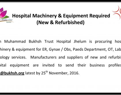 Hospital Machinery and Equipment Required